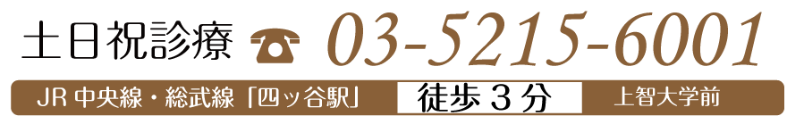 土日祝診療 03-5215-6001 JR中央線・総武線「四ッ谷駅」徒歩3分